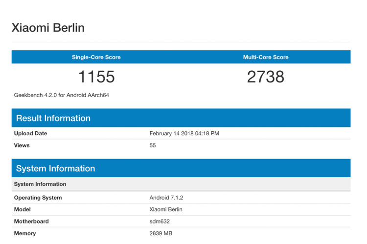 Xiaomi Berlin Geekbench