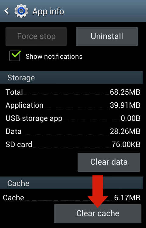 how to delete android cache